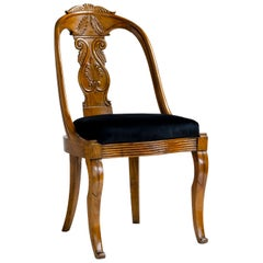 Italian, 19th Century Six Walnut Wood Gondola Chairs with Recent Black Velvet