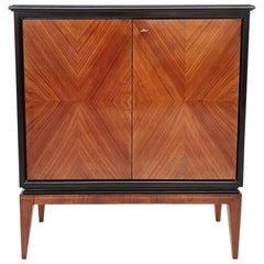 Walnut and Ebonized Wood Cabinet in the Style of Gio Ponti, Italy, 1930s-1940s