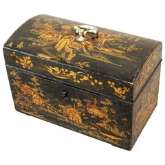 Antique 18th Century Chinoiserie Decorated Tea Caddy