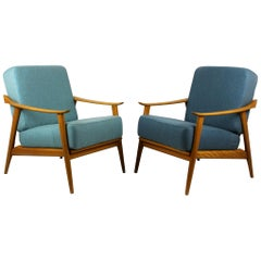 Midcentury Scandinavian Blue and Turquoise Armchairs, 1960s, Set of Two