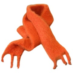 Lena Rewell Mohair Scarf in Bright Orange