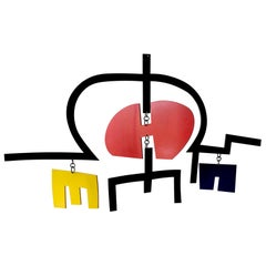 Manuel Marzo Mart Primary Color Painted Steel Modernist Kinetic Mobile