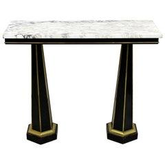 Art Deco Italian Regency Marble & Black Ebonized Wood Console Foyer Table, 1930s