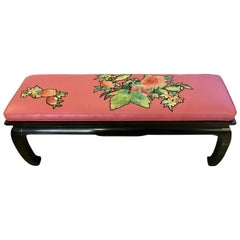 James Mont Style Asian Black Lacquered Bench with Silk Appliqué