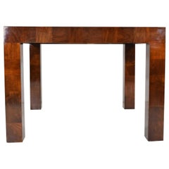 Milo Baughman Burl Wood Parquet Card or Dining Table