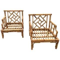 Mid-Century Modern Pair of Italian Bamboo Armchairs with Geometrical Motifs