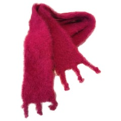 Lena Rewell Mohair Scarf in Bright Raspberry