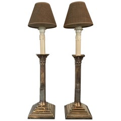 England Pair of Neoclassical Style Silver Candleholders Table Lamps, circa 1890