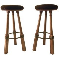 Pair of French Oak Bar Stools, Attributed to Jacques Adnet