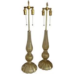 Mid-Century Modern Pair Italian Murano Seguso Venetian Gold Fluted Glass Lamps