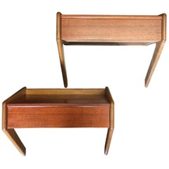 Pair of Midcentury Scandinavian Modern Wall Mounted Bedside Tables