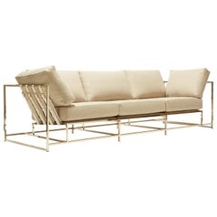 Heathered Beige Wool and Polished Nickel Sofa