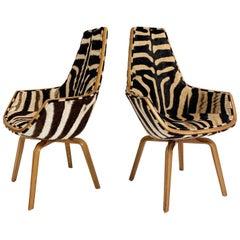 Rare Arne Jacobsen for Fritz Hansen Giraffe Chairs Restored in Zebra Hide, Pair