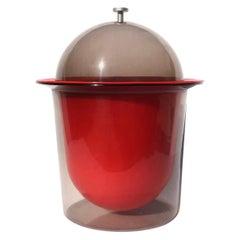 1960s Red and Smoked Acrylic Ice Bucket