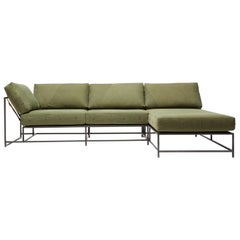 Vintage Military Canvas and Blackened Steel Small Sectional