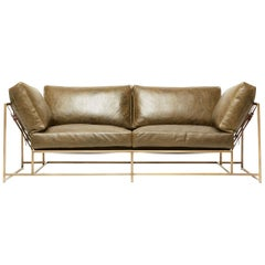 Olive Leather and Antique Brass Two-Seat Sofa