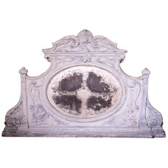 Cast Iron Overmantel Mirror with Original Paint and Distressed Mercury Glass