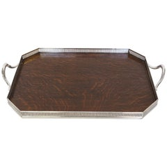 Antique English Gallery or Butler Tray