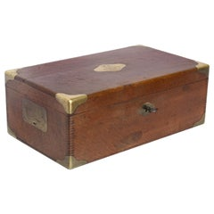 Antique French Wood and Brass Box with Key
