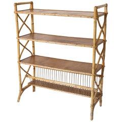 Midcentury Four-Tier Rattan Shelf
