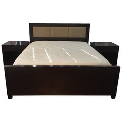 Walnut and Leather King Size Bed