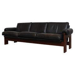Martin Visser Wenge and Black Leather 3-Seat Sofa
