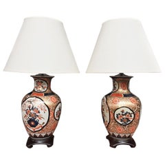 Pair of 20th Century Imari Style Porcelain Vase Table Lamps