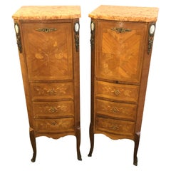 Pair of Louis XV Style Inlaid Secretaries Marble Top
