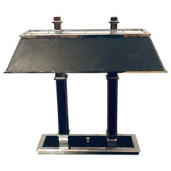 Ralph Lauren Leather Wrapped Chrome Framed Table or Banker Desk Lamp
