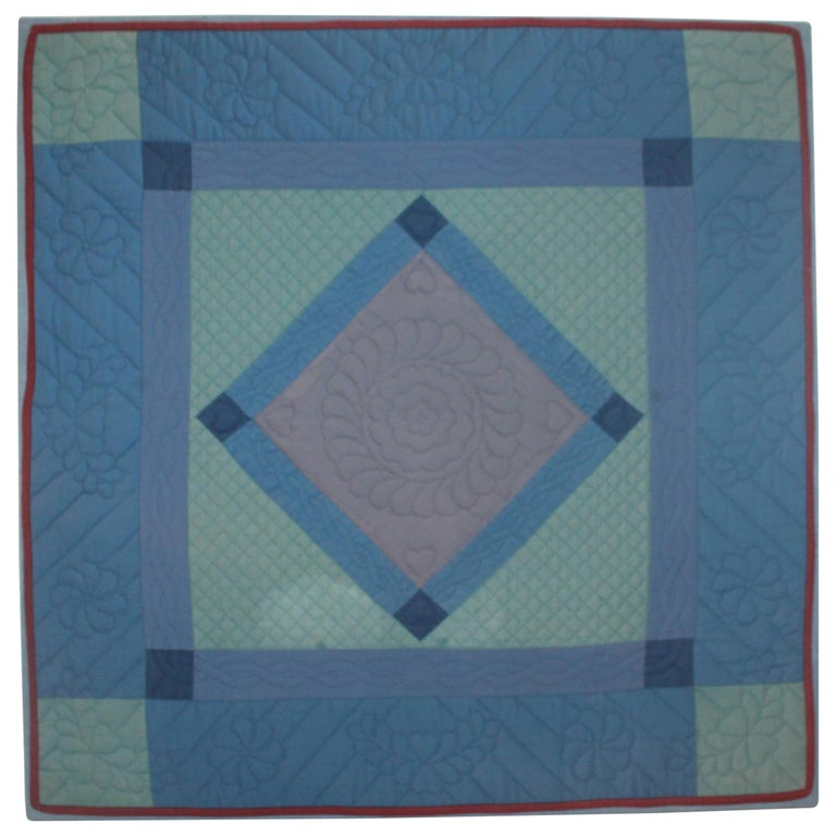 Antique Quilts, Amish Crib Quilt Mounted For Sale