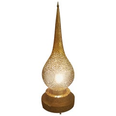 X-Tall Intricate Moroccan Copper Lamp or Lantern, Table Lamp