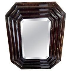 Mid-Century Modern Smoke Lucite Beveled Emerald Shape Polished Nickel Mirror