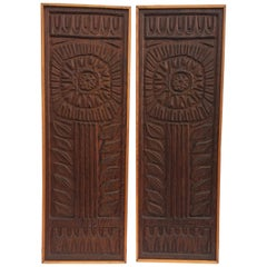 MCM Pair of Evelyn Ackerman Wood Carved Panels for Panelcarve, Joy's Flower