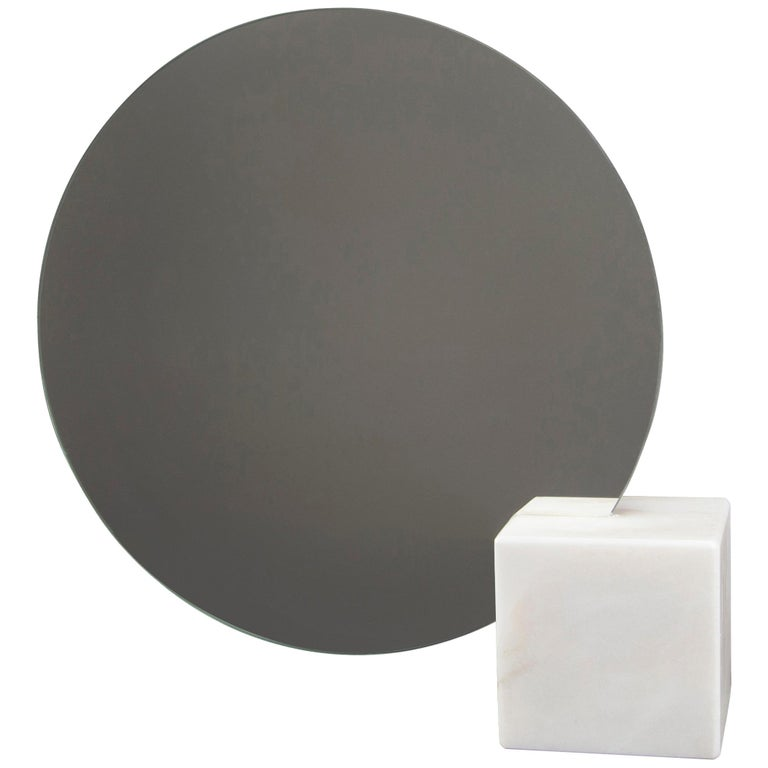 Pi Mirror from Souda, Carrara Marble Table Mirror, in Stock For Sale