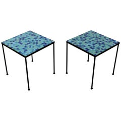 Mid-Century Modern Pair of Murano Glass Tile and Iron Side or End Tables, Italy