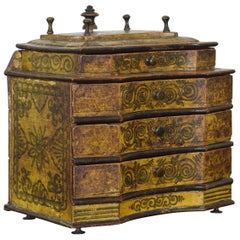 Tyrolean Shaped and Painted 4-Drawer Box, 18th Century