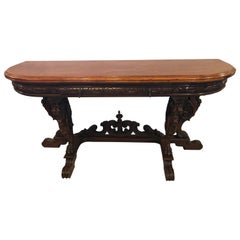 Horner Brothers Quality Flip Top Dining Table with 4 Full Bodied Winged Griffins