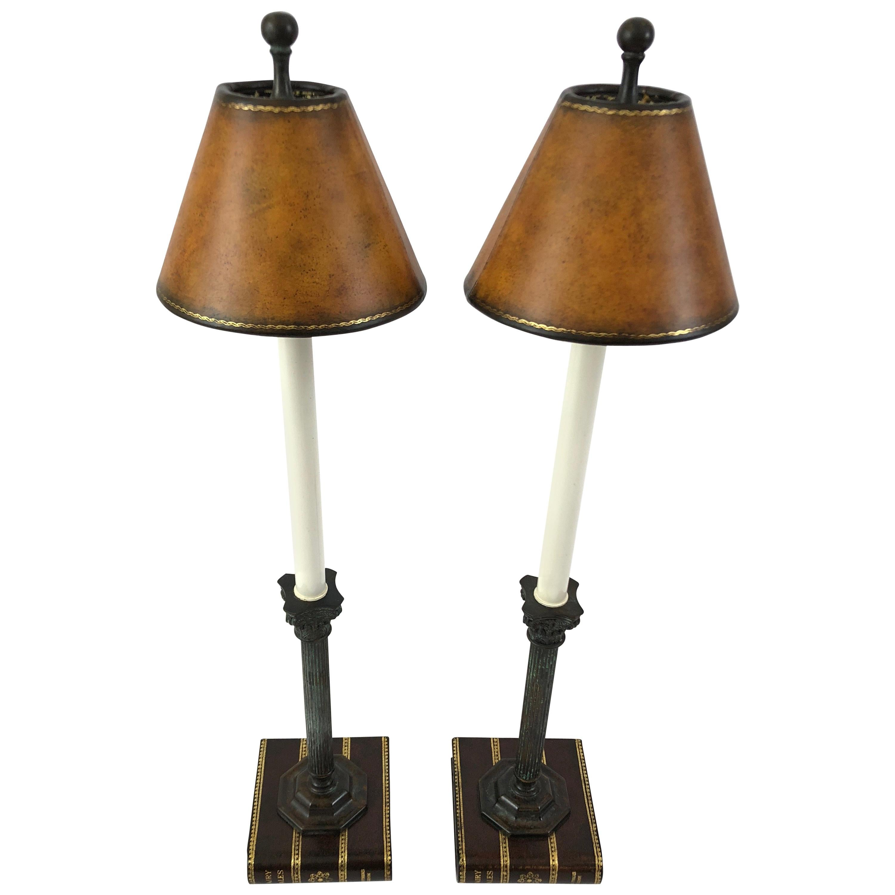Clever Pair Of Maitland Smith Trompe Lu0027oeil Book And Column Table Lamps