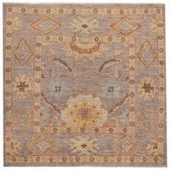 21st Century Modern Persian Square Sultanabad Rug