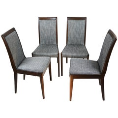 Set of 4 Black and White Natural Wood Casala Chairs