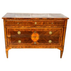 18th Antique Commode of Drawers in Walnut and Various Essences Louis XVI