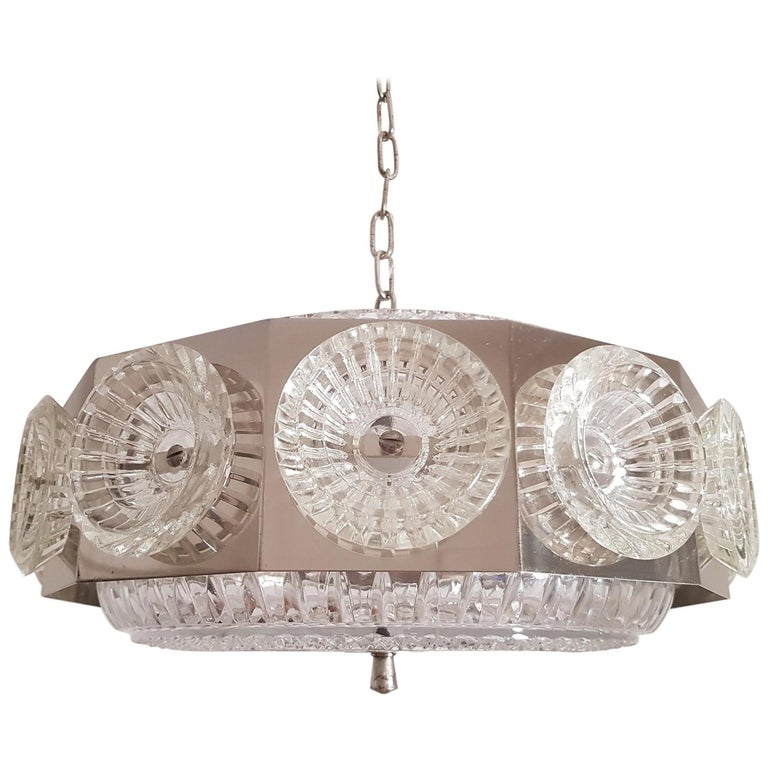 Carl Fagerlund Vintage Chandelier Chrome and Glass 1960s, Orrefors Sweden For Sale