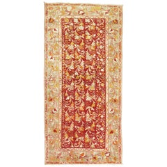 Red Vintage Turkish Oushak Scatter Size Small Runner Rug