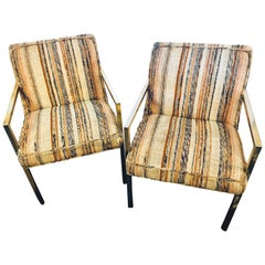 Pair of Swaim Mid-Century Modern Bronze Patinated Open Armchairs