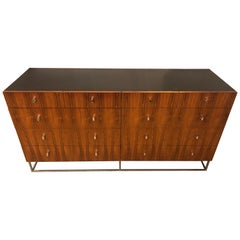 Hollywood Regency Style Rougier Rosewood and Black Lacquer Credenza Chest Server