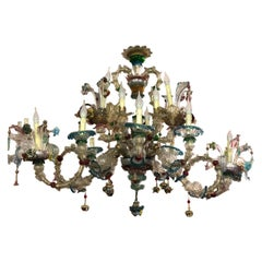 """20th Century Old Murano Chandelier Colored and Gold Mod. """"Gondola"""" 14 Lights"""