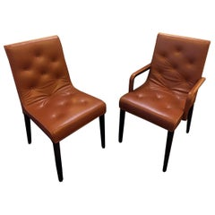 Set of Six Leather Leslie Arm and Side Chairs