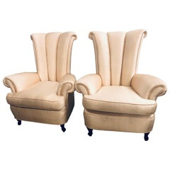 Pair of Hollywood Regency Style Channel High Back Chairs