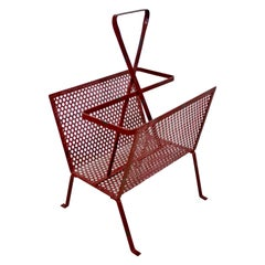 Mid-Century Modern Vintage Red Wire Mesh Magazine Rack Mathieu Mategot Style