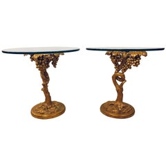 Pair of Stylish Italian Carved Side Tables, Grapes on the Vine Design